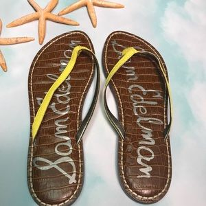 SAM EDELMAN GRACIE FLIP FLOP SANDALS YELLOW 8 1/2
